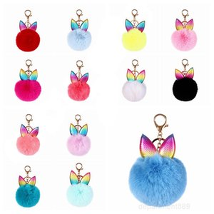 Creative Rabbit Ear Keychain Soft Fur Ball Lovely Gold Metal Key Chains Pom Plush Keychains Bag Car Keyring Party Favor OWC2639