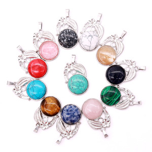 20pcs 25*37mm new best-selling DIY semi-precious stone flower pendant is suitable for daily wearing as a gift