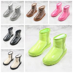 2021 меховые наполовину прозрачные снежные сапоги водонепроницаемые женские сапоги классические прозрачные мини ТПУ зимние сапоги дизайнерские лодыжки черные зеленые туфли размером 36-39