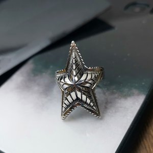 Hot Brand Pure 925 Sterling Silver Jewelry Vintage Silver Crush Rings Silver Star Lozenge Rings Steam Punk Vintage Men 925 Rings