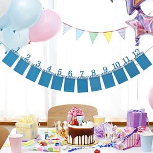 Aniversário do bebê da parede da foto do aniversário da parede da placa da foto da bandeira dos miúdos Decorações do presente de aniversário da criança 1-12 meses da bandeira do mês (número 12