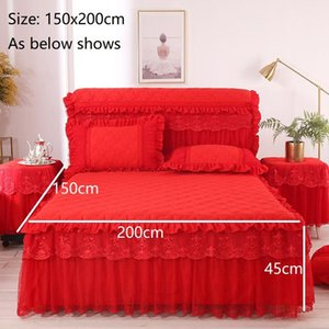 Princess Thicken Padding Bed Skirt Non-slip Flat Bed Skirt Quilted Spread Soft case Without Warm Queen King Sheet