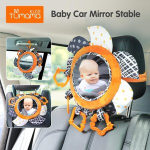 TUMAMA High Contrast Baby Floor Mirror and Plush Rattles Rings Baby Car Mirror for Back SeatBlack and White Activity Mirror Str Z1124