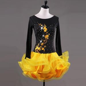 Yellow Swing Latin Dance Dress Women Embroidery Ballroom Tango Rumba Samba Dance Dress Female Adult Performance Clothing New