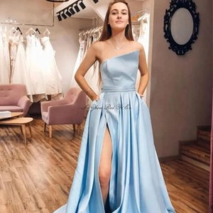 Light Blue Prom Dresses 2020 Side Slit Evening Party Dresses With Pockets Lace Up Back Long Formal Gown Vestidos De Festa