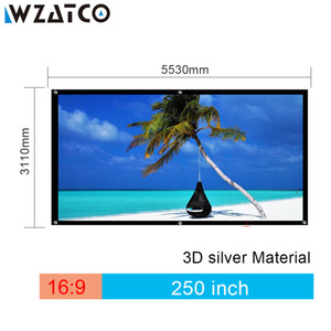 WZATCO 3D Screen Large 250inch 4:3 Silver Projection Fabric for Cinema XGIMI H2 H1 H1S Z6 Z3 JMGO J6S Projector