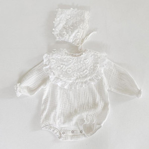 2020 Autumn Newborn Girls Jumpsuits Clothes Baby Knit Rompers + Hat + Bib Pure Color Knitted Long Sleeve Children Rompers