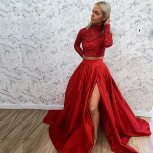 Red Prom Dresses Two Pieces Mermaid Homecoming Dresses High Neck Long Sleeve Sequined Graduation Dress Girls Evening Gowns P135