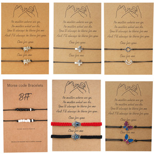 Lovers Weave Bracelets Elephant Butterfly Sunlight Moon Cross Adjustable Chain 2 Pcs Kit Valentines Day Gift Bangle Big Cardboard 5 45yh O2