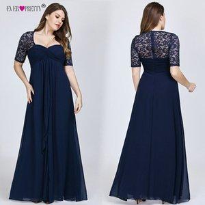 Плюс размер вечерние платья когда-либо красивые новогодние с коротким рукавом кружева задний ВМС синий сексуальный шифон длинные свадебные гостевые платья 201119