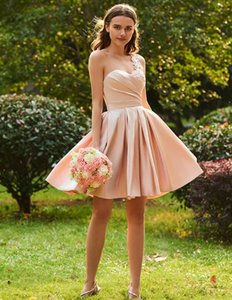 One Shoulder Lace Short Junior Bridesmaid Dresses with Applique Draped Satin Backless Homecoming Prom Party Dress Custom Made