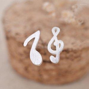 925 Sterling Silver Music Note Stock Boucles d'oreilles Silver Mode Musique sauvage Note d'Asymétrie Boucles d'oreilles 2020 pour femmes bijoux1