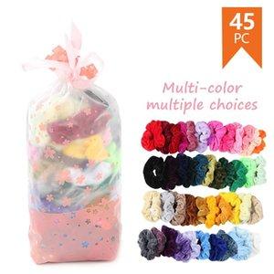 45 adet kadife elastik scrunchies saç bantları kadınlar veya kızlar için saç aksesuarları hediye paketi ile basit katı toptan