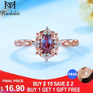 Kuololit lab grown Alexandrite Gemstone Ring for Women Real 925 Sterling Silver Ring Size 10 Oval ring for Engagement Milgrain 201118