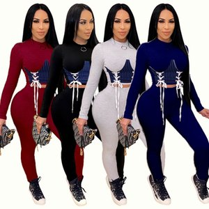 Women Two Pieces Outfits Designer Tracksuits Slim Sexy Solid Colour Denim Stitching Drawstring Ladies New Fashion Casual Sportwear