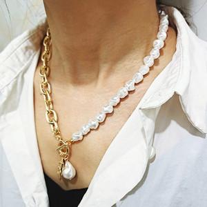 Vintage hip hop barocco irregolare perla serratura collana collana geometrica ritratto moneta ciondolo pendente collane per le donne di dichiarazione punk gioielli