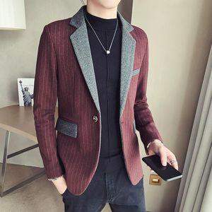 2020 Autumn New Korean Style Solid Color Slim Business Striped Splicing Blazer Jacket Woolen Blazer Suit Hombre Terno Masculino