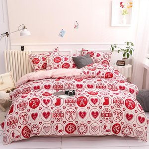 Merry Christmas Children Bed Linen Set Soft Comfortable Soft Bedclothes Bed Cover Pillowcase Sheet Girls Bedding Set for Adults