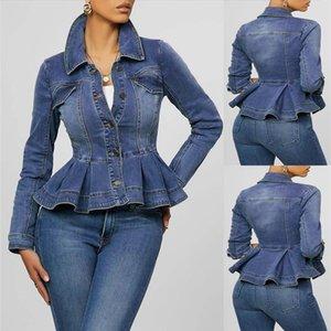 Women Denim Jacket Ruffle Hem Slim Fit Women Short Jeans Jackets Coat Vintage Turn Down Collar Denim Coat Outerwear Femme D30