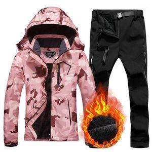Women's Ski Suit Winter Thermal Warm Jacket Pants Set Windproof Waterproof Snowboarding Female Skiing Suits Snow Coat1