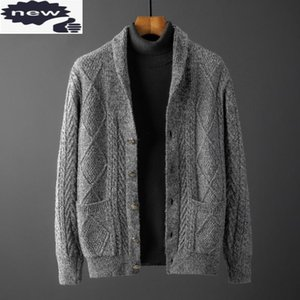 Vintage Men Turn-down Collar Knitting Jacket Autumn Winter Thicken Solid Color Single Breasted Jacquard Sweater Coat