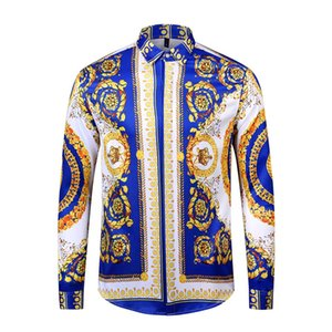 Wholesale luxury shirt fashion Hawaiian retro printed silk shirt men's long sleeve designer dress free logistics