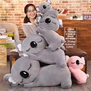 Uyku Koalas Doldurulmuş Oyuncak Yalan Hayvanlar Uyku Arkadaş Peluş Bebek Pembe / Gri Süper Yumuşak Rahatlatıcı Çocuk Hediye 4 Boyutları Y1117
