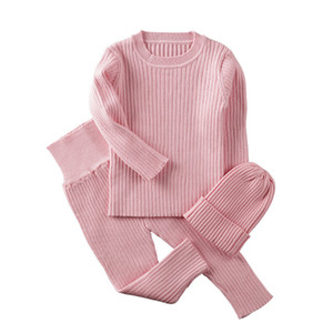 3pcs set Spring Autumn Winter Baby Girl Clothes Knit Ribbed Sweater Boys Sweaters Pants Hats Children's Clothing 0-2Y Y1113