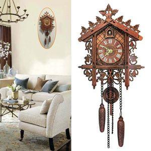 Vintage Wall Clocks Wooden Tree House Hanging Cuckoo Wall Clock Bedroom Decorative Clock Art Decor Clocks Office Home Decor