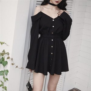 New Spring Autumn Gothic Girls Dresses Hollow Out V Collar Sexy Women Sling Dress Long Sleeve A Line Black Punk Dress