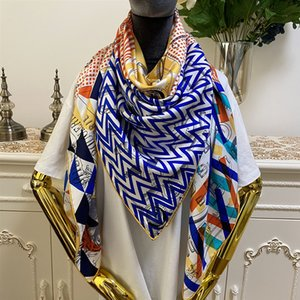 Luxury-New style women's square scarves high quality 100% twill silk material multi color pint letters Embellished pattern size130cm - 130cm