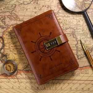 Vintage Creative Creative B6 Sailor Travel Journal Planejador De Couro Faux Caderno Com Password Lock Navegação Navegação Presente 1243