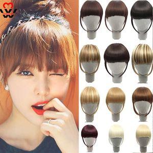 Clip de Manwei en Bang Bangs Extensiones de cabello con flecos sintéticos Black Brown Blonde Hairpiece para las mujeres