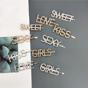 Silver Gold Letter mot strass cristal pique poils coiffure clips poils barrette ornement accessoires de cheveux