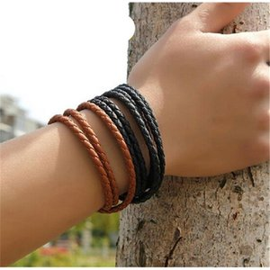 7TXWStainless Mens Leather Bangle Bracelets Magnetic Black Brown Mesh Steel Clasp Double Wrap Wristband Beautiful Titani