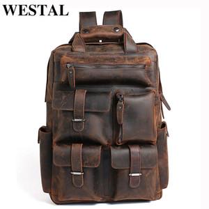 WESTAL crazy horse leather backpack for men genuine leather bag high quality backpacks laptop backpacks daypack man mochila 3506