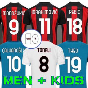 Milán 20 21 Soccer Jersey AC Ibrahimovic Kessie Bennacer Romagnoli 2020 2021 Camisa de fútbol Theo Rebic Maillot Men + Kit Kit Mandzukic
