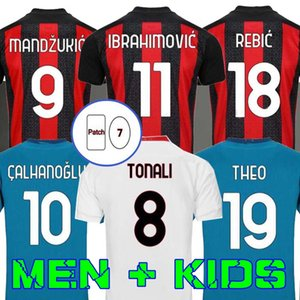 Милан 20 21 футбол Джерси AC Ibahimovic Kessie Bennacer Romagnoli 2020 2021 Футбольная рубашка Theo Rebic Maillot Men + Kids Kit Mandzukic
