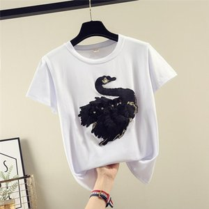 White T shirt Women Clothes Summer Short Sleeve Embroidery Vintage TShirt Female Tops Casual Black Korea Tee Shirt 2019