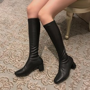2020 Fashion Women Party Boots High Quality Slip On Knee High Boots Winter Stretch Thick Mid Heels Comfortable botas