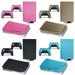 for PS5 Disk Edition Carbon fiber Skin Sticker Decal Cover for PlayStation 5 Console and 2 Controllers PS5 disk Skin Sticker