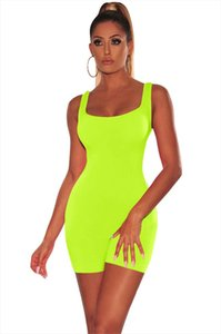 Solid Casual Playsuits Women Sexy Scoop Neck Sleeveless Slim Jumpsuit Tank Romper Summer Beach Bathing Suits Swimsuit