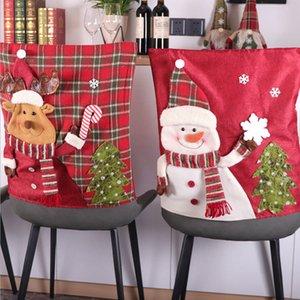 DHL Spedizione Merry Christmas Decorations Chair Chair Coperchio Sedia Santa Xmas Ornamenti Decorazioni AHA2658