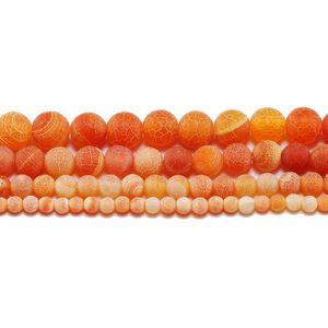1Strand Lotto 4 6 8 10 10 12 mm Stone Weathering Round Spacer Spacer Ballo Frost Crab Agate perline per gioielli Making fai da te Collane H BBYPBP