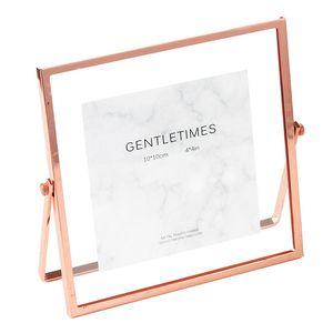 خمر روز الذهب العتيقة الفضة المعادن العائمة مكتب إطار الصورة لصورة ملصق الفنون يترك الريش زهرة 4x4 4x6 5x7 بوصة