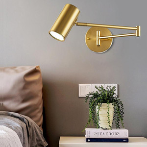 Modern Adjustable Swing Long Arm LED Wall Lamp Warm Cold Lighting Wall-mounted Household Bedside Lighting Wall Sconce