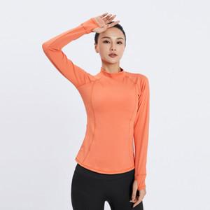 women 2021 new fashion Yoga dress Lulu back sport long sleeve quick dry T-shirt