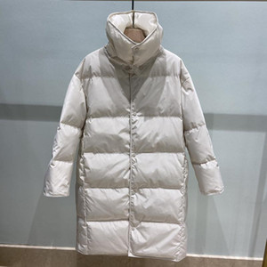 Ailegogo New Winter Women Loose Removable Collar 90% White Duck Down Long Parka Thick Warm Snow Black Down Jacket Outwear