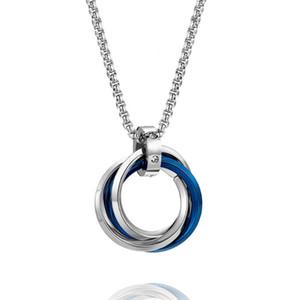 DCarzz nero oro collana blu classico gioielli partito di alta qualità titanio acciaio anelli rotondi pendente lungo collane collane regalo uomini