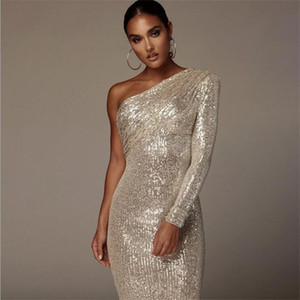 One Shoulder Shiny Sexy Cocktail Dresses Long Sleeve Sequined Women Party Wear Special Occasion Gowns Cheap